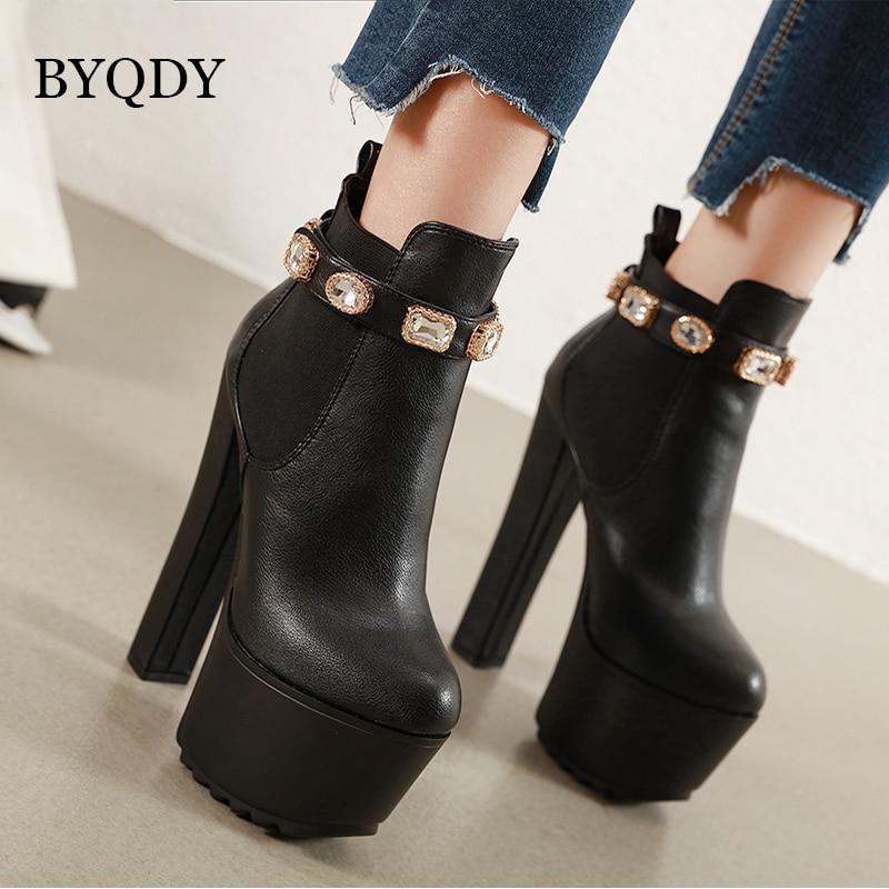 BYQDY Autumn Lolita Boots Winter Shoes Rivets Woman Luxury Designer Round Toe Rubber Rock Fashion High Heel Zipper