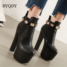 BYQDY Autumn Lolita Boots Winter Shoes Rivets Woman Luxury Designer Round Toe Rubber Rock Fashion High Heel Zipper