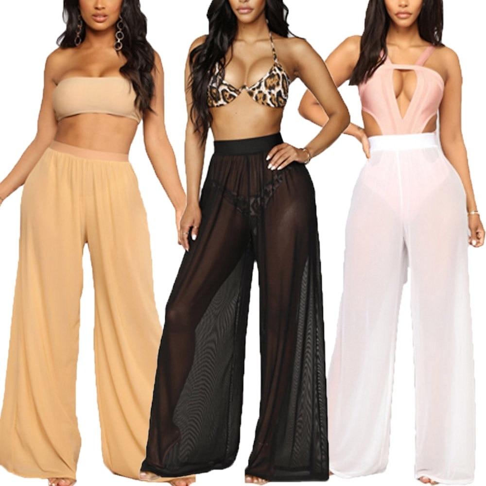 Sexy Women Wide Leg Beach Bikini Cover Up Loose Beach Long Pants Trousers Swimwear Bathing Suit