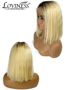 Frontal Wig Closure Short Human-Hair Honey Blonde U-Part-613 Cheap Lace-Wig Remy-Virgin
