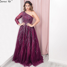 Serene Hill Dubai Design Wine Red A Line Evening Dress One Shoulder Sexy Luxury Formal Party Gown 2020 CLA60988