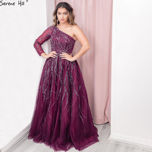 Image 1 - Serene Hill Dubai Design Wine Red A Line Evening Dress One Shoulder Sexy Luxury Formal Party Gown 2020 CLA60988