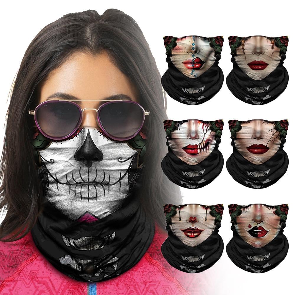 Fashion Sugar Skull Seamless Balaclava Half Face Fishing Mask Cycling Headwear Neck Gaiter Bandanas Head Windproof Sport Scarf
