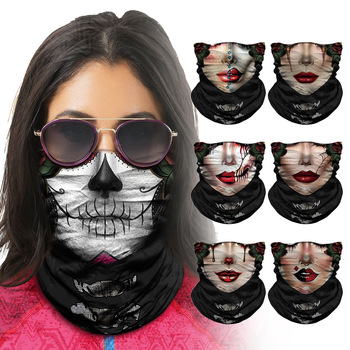 Fashion Sugar Skull Seamless Balaclava Half Face Fishing Mask Cycling Headwear Neck Gaiter Bandanas Head Windproof Sport Scarf bjmoto cool skeleton skull motorcycle ski headband sport outdoor neck face mask mtb racing cycling windproof scarf balaclava
