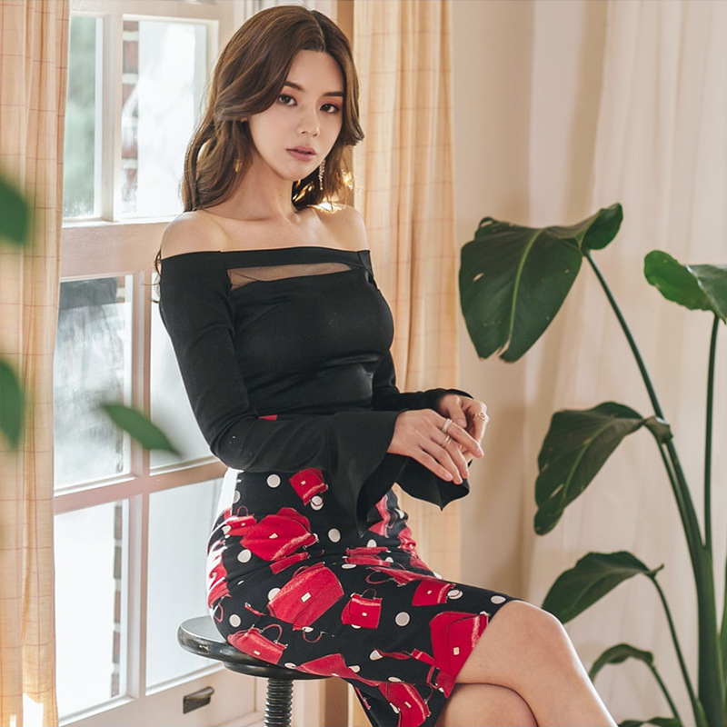 New Style Korean-style Horizontal Neck Trumpet Long-sleeved Upper Garment Printed Sheath Skirt Two-Piece Set