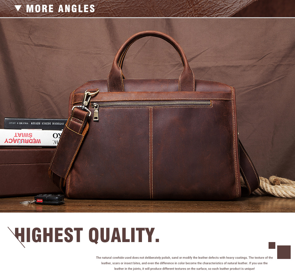 Men Briefcase Bag Leather Comfortable Laptop Handbag 2021 6