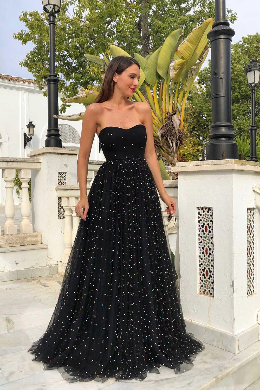 Sequined strapless 긴 드레스 여자 블랙 파티 드레스 우아한 민소매 backless 높은 허리 층 길이 맥시 드레스 vestidos