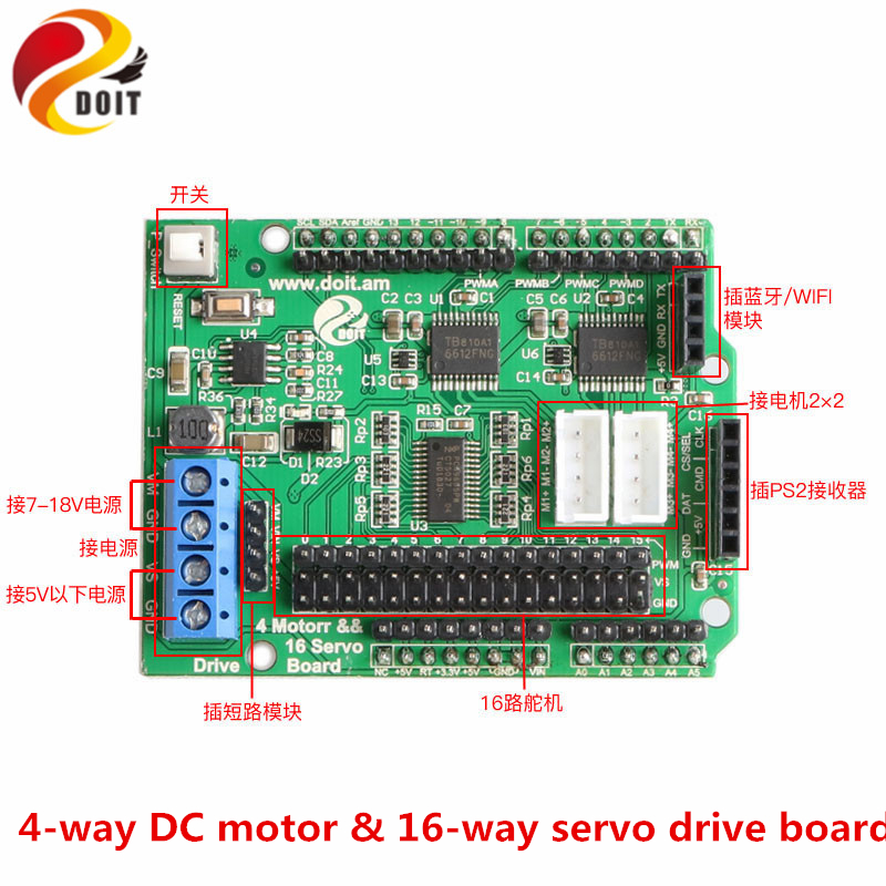 SZDOIT Wifi/Bluetooth/Handle Control Kit 2/4-channel DC Motor & 16-channel Servo Drive Board for RC Robot Parts for Arduino