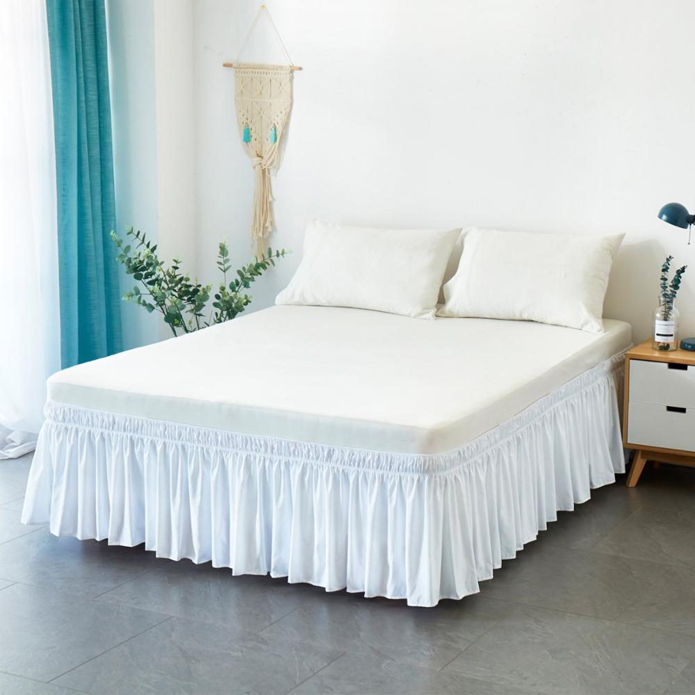 Bright Hotel Bed Skirt Wrap Around Elastic Bed Shirts Without Bed Surface Twin /full/ Queen/ King Size 38cm Height For Home Decor White