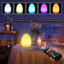 купить Creative 3D Egg LED Night Light Rechargeable 16 Colors 5W Dimmable RGB Remote Control LED Lamp Outdoor Garden Bar Desk LED Light дешево