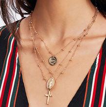 Multilayer Cross Virgin Mary Pendant Beads Chain Christian Neckalce Goddess Catholic Choker Necklace Collier For Women