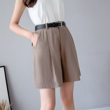 2019 Summer Women Casual Zipper Wide Leg Shorts Elegant Pockets Shorts Ladies Solid High Waist Shorts