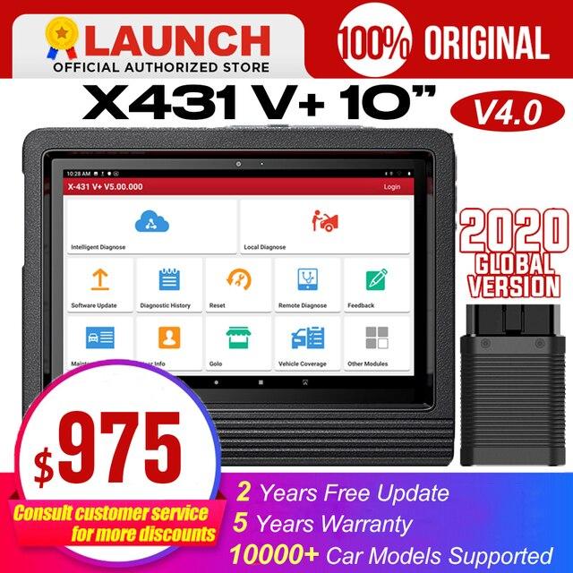 "Launch X431 V+ 10"" V4.0 obdii obd automotive scanner obd2 scanner auto diagnostic tool bluetooth Wifi key porgrammer ECU Coding"
