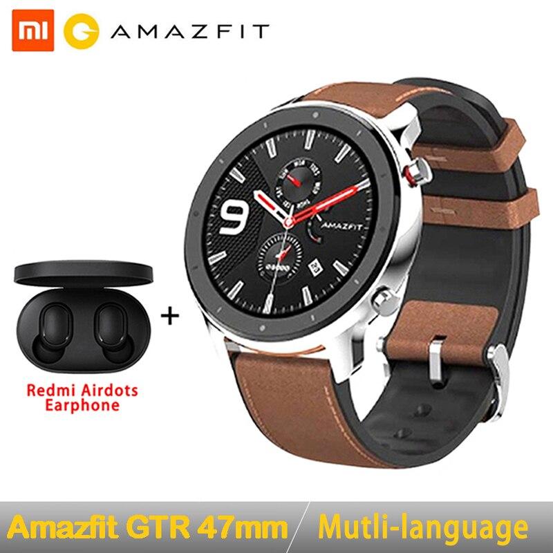 Version mondiale Amazfit GTR 47mm montre intelligente Huami 5ATM étanche Smartwatch 24 jours batterie GPS contrôle de la musique pour Android IOS|Montres connectées| |  -