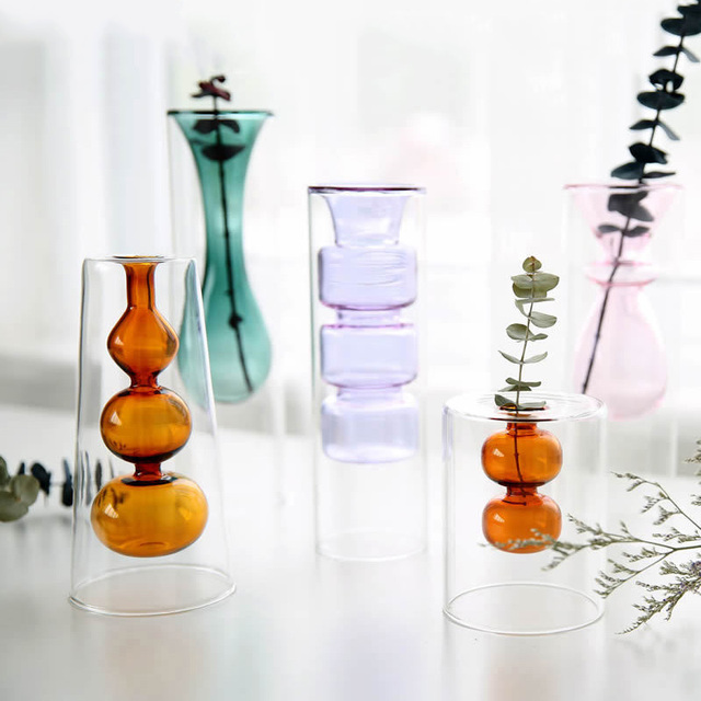 Strongwell Nordic Double-layer Stained Glass Vase Hydroponic Flower Vase Home Decoration Home Desktop Decoration Ornaments 2