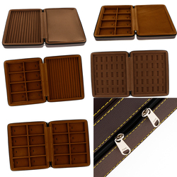 Luxury PU Leather Jewelry Travel Organizer Box Studs Rings Storage Holder with Zipper