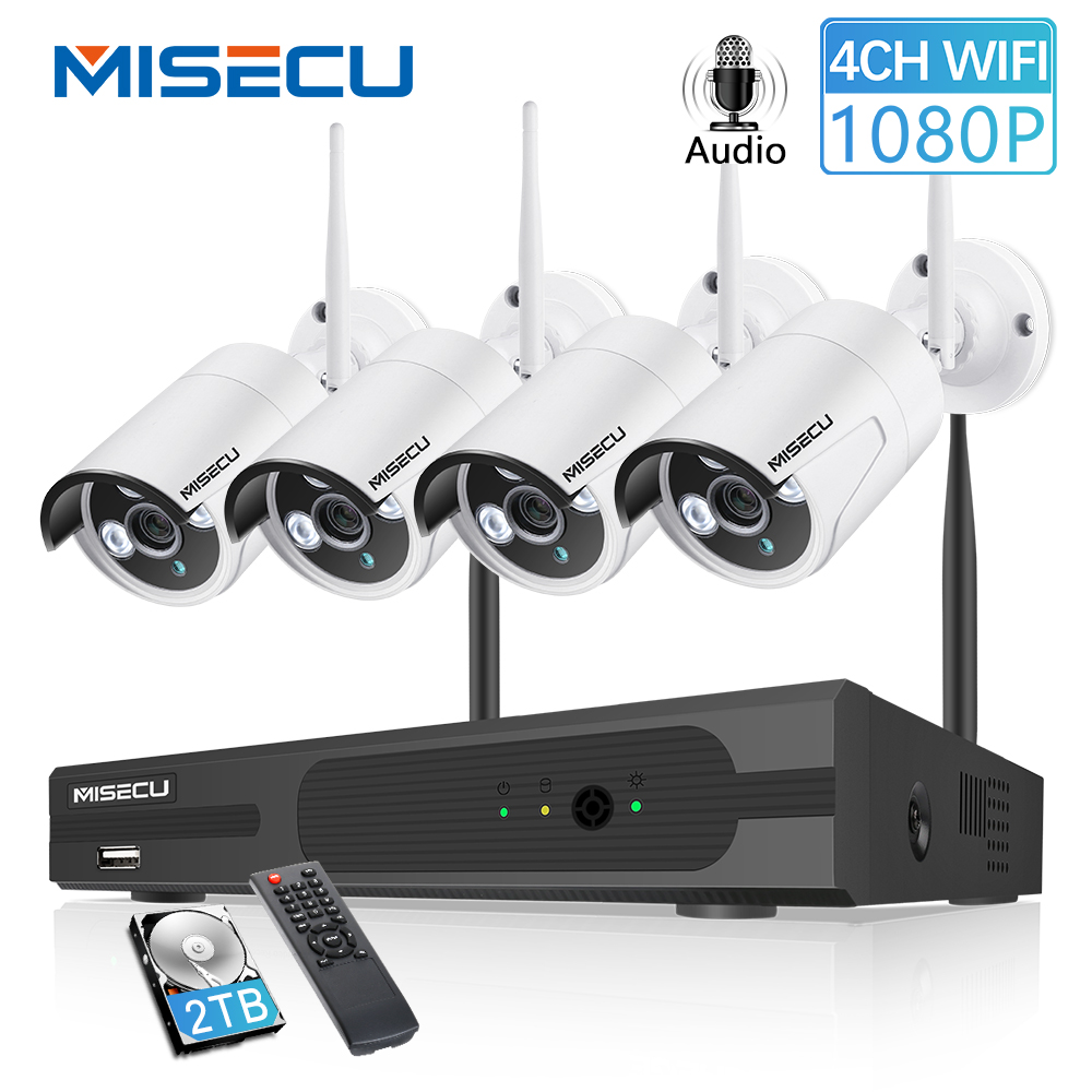Misecu sistema de cctv sem fio 4ch nvr 1080 p gravação áudio 2mp à prova dwaterproof água ao ar livre visão ir nigh wifi sistema segurança vigilância