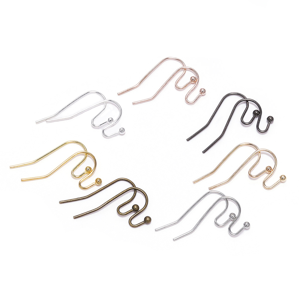 100pcs/lot 21*16mm Silver Gold Bronze Earring Hooks Findings Ear Hook Earrings Clasps For Jewelry Making DIY Earwire Supplies