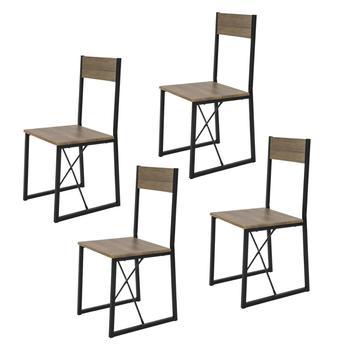 SoBuy®FST67x4 zestaw 4 krzesła do jadalni nowoczesny Design krzesła kuchenne krzesła do jadalni MDF i Metal tanie i dobre opinie Jadalnia meble pokojowe W41 x D44 x H89cm Minimalistyczny nowoczesny Jadalnia krzesło Meble do domu Drewniane