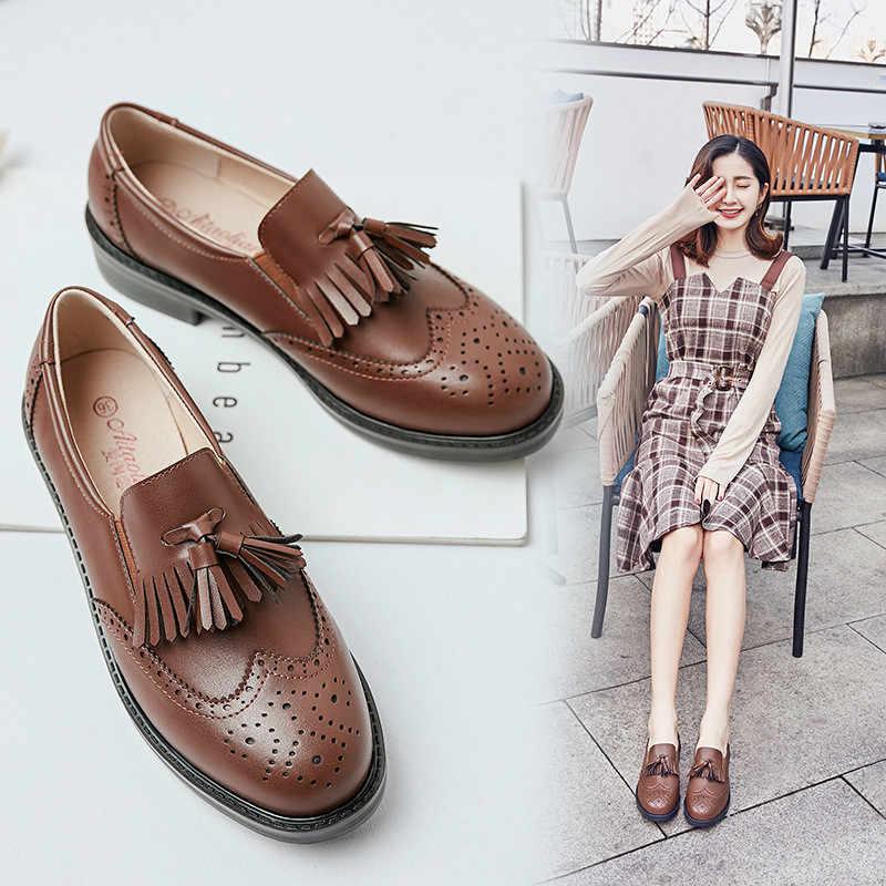 2020 İlkbahar yaz kadın loafer'lar yumuşak deri Brogues ayakkabı kadın Fringe Oxford ayakkabı üzerinde kayma moda düz Platform bayan ayakkabıları
