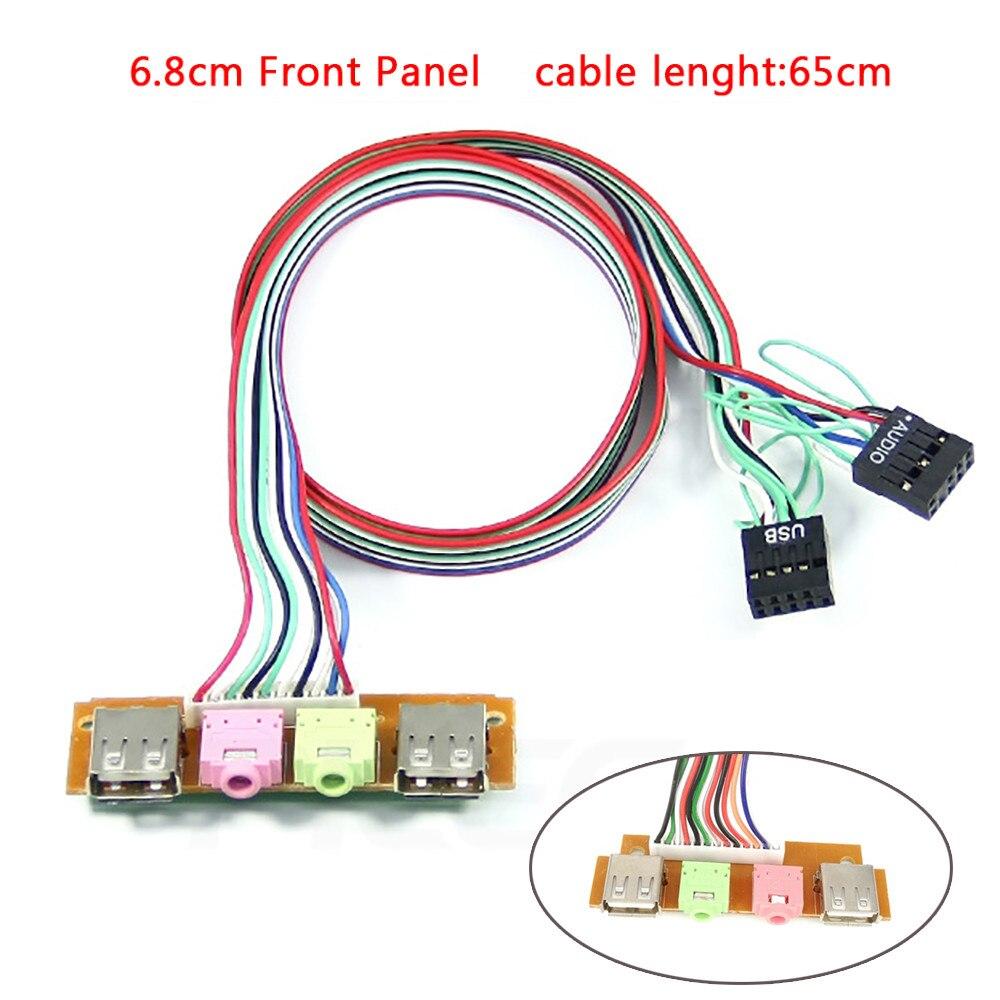 1PC haute qualité USB 2 Ports PC coque d'ordinateur panneau avant USB Port Audio Microphone et écouteurs câbles vente en gros livraison directe