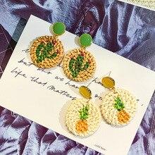 S925 Needle South Korea East Gate Fashion Earrings Popular Temperament Grass-woven Circular Painting Cactus