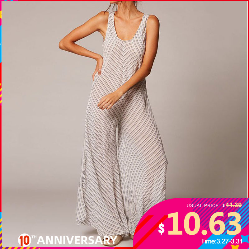 Celmia 2020 Summer Vintage Striped Jumpsuit For Women Sleeveless Rompers Wide Leg Pant Casual Workwear Female Overalls Plus Size