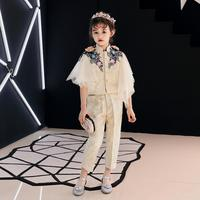 Luxury Girls Blazers Suit Lace Embroidery beading Kids Pageant Gown Birthday Costume Appliques Fashion Evening Dress Sets L47