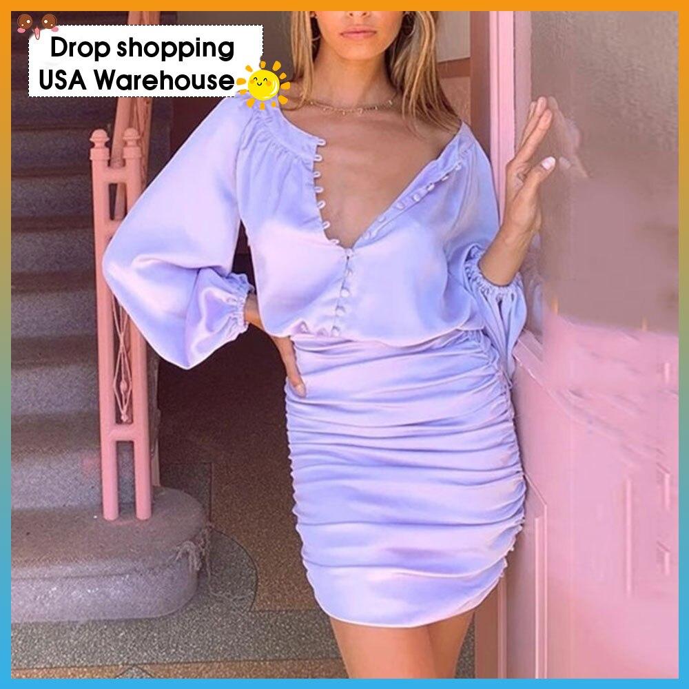 Женское однобортное Плиссированное Платье облегающее платье