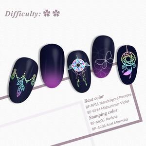 Image 3 - Geboren Pretty Mandala Serie Nail Stempelen Platen Bloemen Rechthoek Nail Art Image Stencil Thema Template