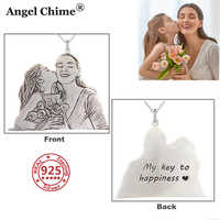 AC 925 Sterling Silver Personalized Photo Pendant Necklace Charm Photo Customized Necklace S925 Chain Collar Angel Woman'Jewelry