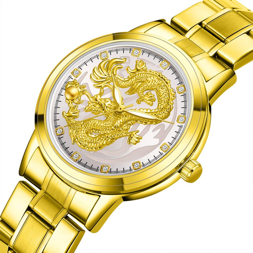 Relogio Masculino Dragon Watches Men Quartz Sport Stainless Steel Band Watch Quartz Business Wristwatch Reloj Hombre