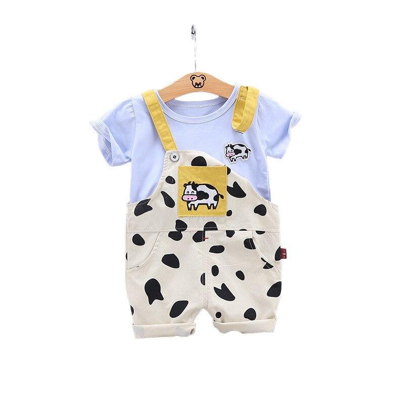 Новый летний костюм для маленьких мальчиков; Детская футболка с рисунком для девочек; Комбинезон; 2 шт./компл.; Модная хлопковая одежда для ма...
