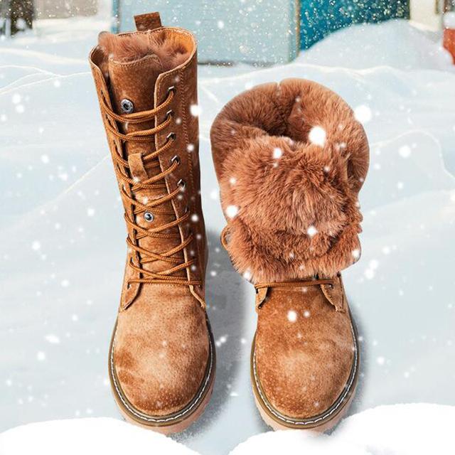 Genuine Leather Snow Boots Woman Winter Boots 2019 Winter Women's Shoes Pig Split Ladies Platform Booties g888