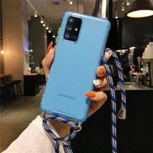 Case For Samsung Galaxy A51 A71 A81 A91 Note 10 A50 A70 A20 Colorful Candy Color With Cord Strap Rope Crossbody Necklace Holder