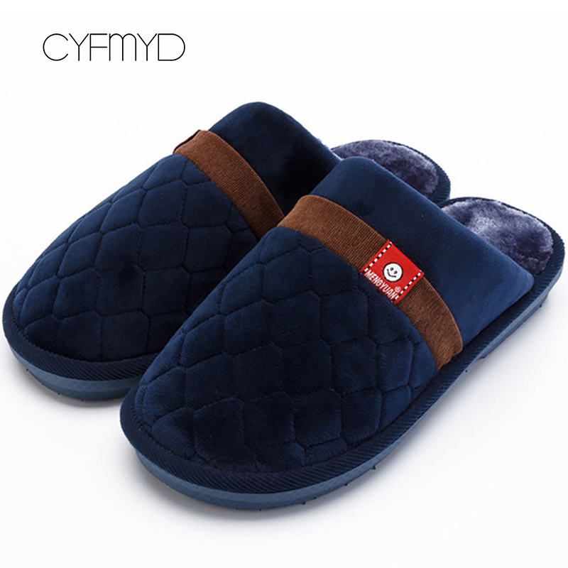 Gingham Winter Men Slippers Plush Keep Warm Non Slip Comfortable Indoor Shoes For Boys Striped Swing House Slippers Men