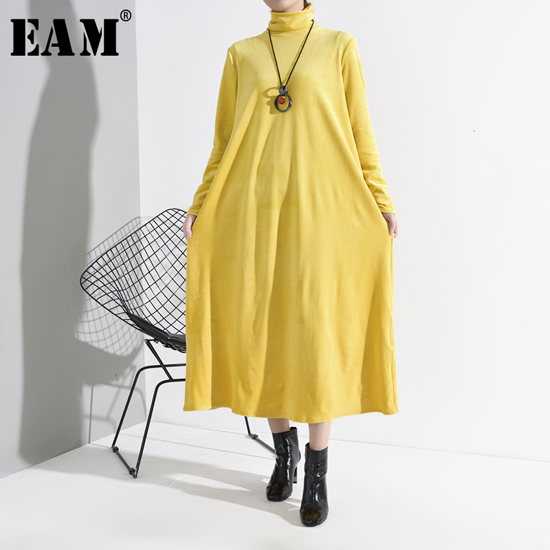 [EAM] Women Yellow Brief Long Big Size Velvet Dress New Turtleneck Long Sleeve Loose Fit Fashion Tide Spring Autumn 2020 LD79207