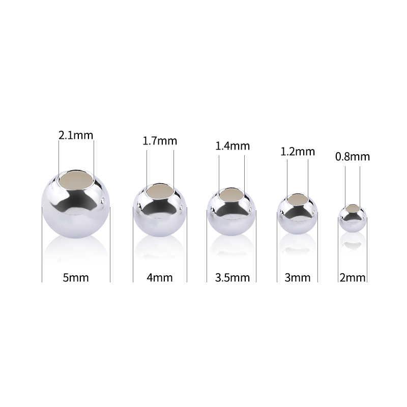 2-5 Mm 925 Sterling Zilveren Ronde Kralen Spacer Kralen Sieraden Bevindingen Accessoires Zilveren Bead Voor Armband sieraden Maken