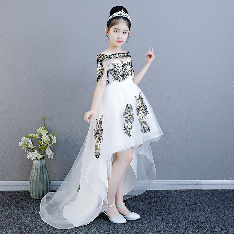 CHILDREN'S Dress Princess Dress Puffy Yarn Girls Catwalks Tailing Late Formal Dress Small Host Piano Costume Flower Boys/Flower