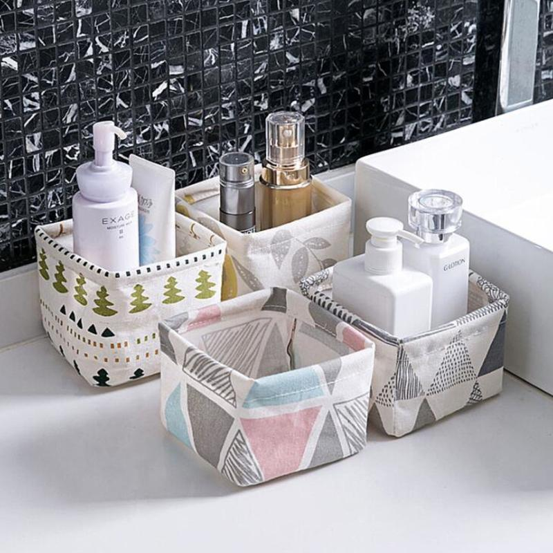 Image 4 - Foldable Sundries Storage basket Cute Printing Cosmetics Container Multifunction Cotton Linen Storage Basket Desktop organizer-in Storage Baskets from Home & Garden