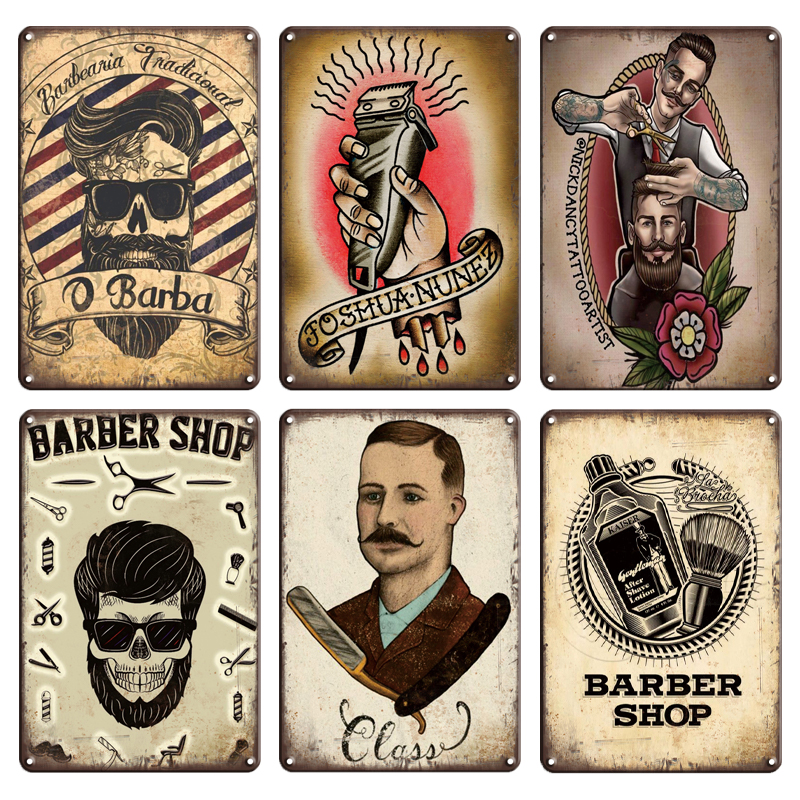 BARBER SHOP METAL SIGN friendly hair salon  gift VINTAGE style wall decor 009