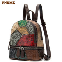 PNDME designer handmade stitching genuine leather women's backpack retro casual outdoor cute small bookbags luxury lady bagpack