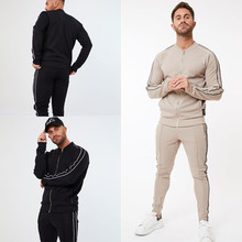 New Autumn Winter Men Fashion Casual Sweatsuit Jogging Suit Long Sleeves Tracksuit Sport Sets Zip cardigan pocket