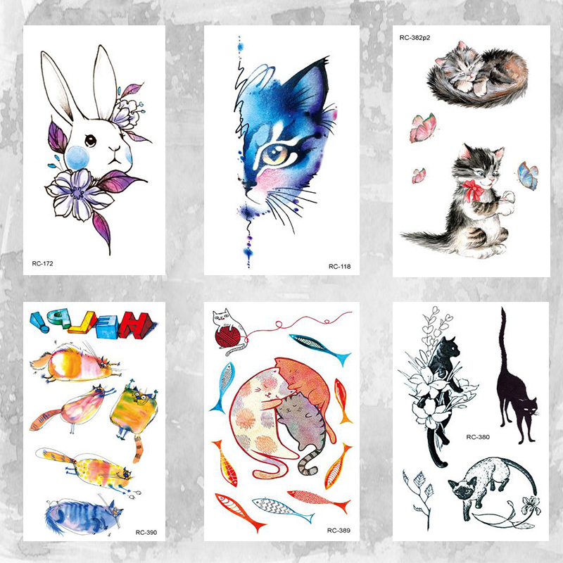 10x6cm Temporary Little Cute Fashion Tattoo Little Cute Cat And Rabbit