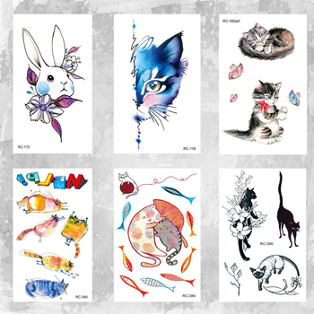 10x6cm temporary little cute fashion tattoo little cute cat and rabbit