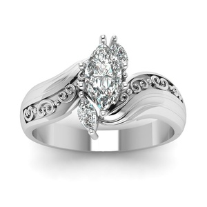 Image 3 - His & Her Stainless Steel Promise Rings 1.85 Ct Marquise Cz Cubic Zirconia Bridal Engagement Ring & Men Wedding Band
