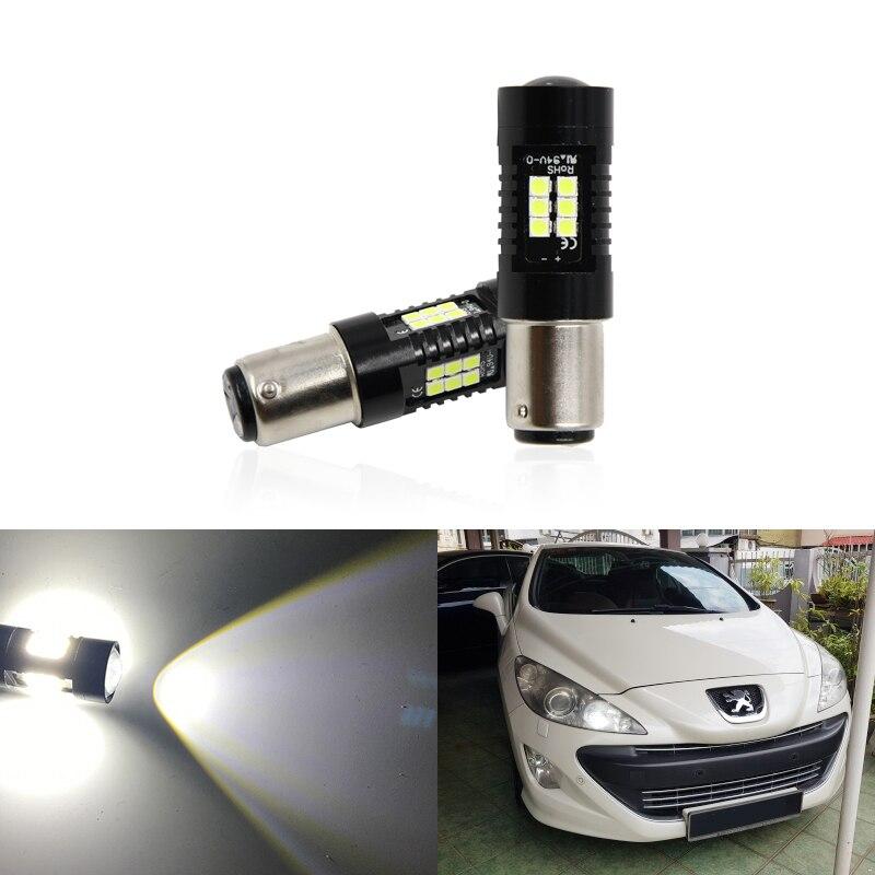 2x CANbus P21/5 Вт, Светодиодные Автомобильные прожекторы 1157 BAY15D для Peugeot 408 308 3008 RCZ, дневные ходовые огни DRL