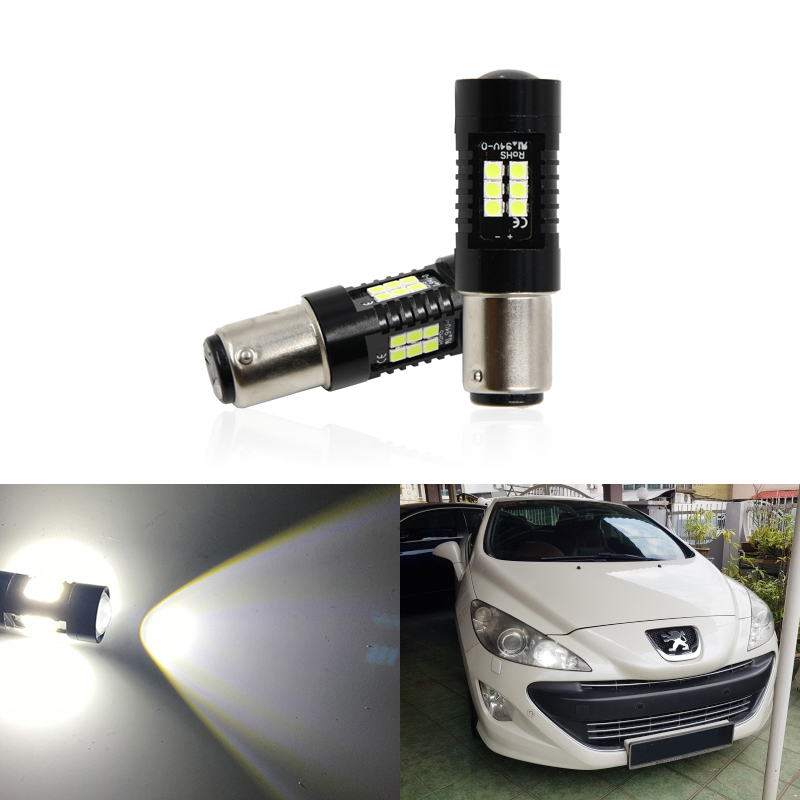 2x CANbus P21/5W Led Car 1157 BAY15D Projector Lights For Peugeot <font><b>408</b></font> 308 3008 RCZ Led DRL Daytime Running Lamp image