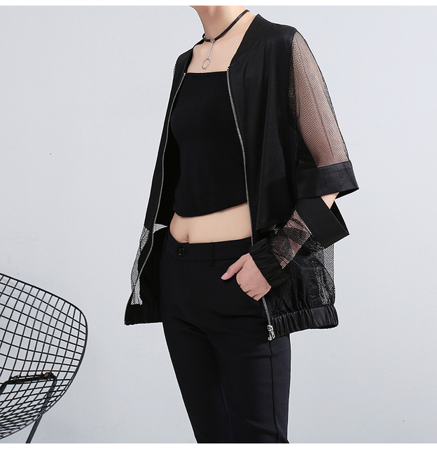 [EAM] Loose Fit Perspective Big Size Hollow Out Jacket New Stand Collar Long Sleeve Women Coat Fashion Tide Spring 2021 JF73401 6