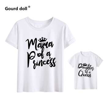 Cotton Mama and daughter print mommy and me clothes Summer Fashion tshirt baby girl clothes family women mom girl boys t shirt - MMH-white, mama M (1PCS)